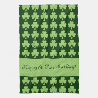Personalize Shamrock Polka dots St. Patrick's Day Tea Towel
