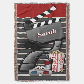 Personalize Show Time Movie Pictures Throw Blanket