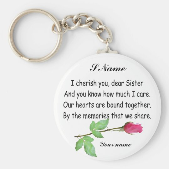 PERSONALIZE SISTER-KEYCHAIN BASIC ROUND BUTTON KEY RING
