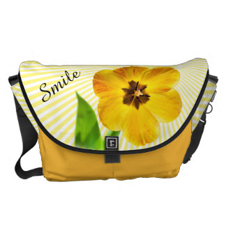 "Personalize: ""Smile"" Yellow Tulip Pic and Sunshine Commuter Bag"