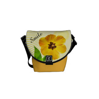 "Personalize: ""Smile"" Yellow Tulip Pic and Sunshine Courier Bag"