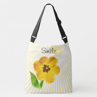 """Personalize: """"Smile"""" Yellow Tulip Pic and Sunshine Crossbody Bag"""