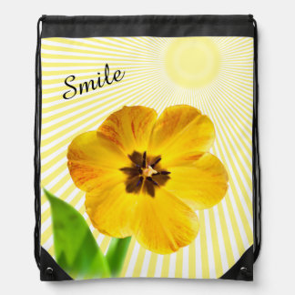 "Personalize: ""Smile"" Yellow Tulip Pic and Sunshine Rucksacks"