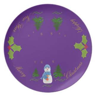 Personalize, Snowman, Christmas tree, twig Dinner Plate