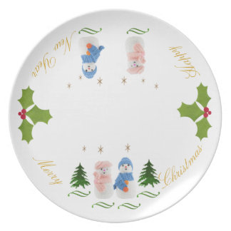 Personalize, Snowman, Snow woman Christmas tree Party Plate