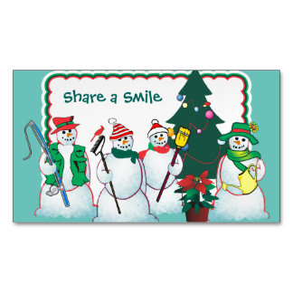 personalize snowmen magnets magnetic business cards