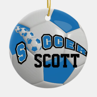 Personalize Soccer Ball | Blue Christmas Ornament