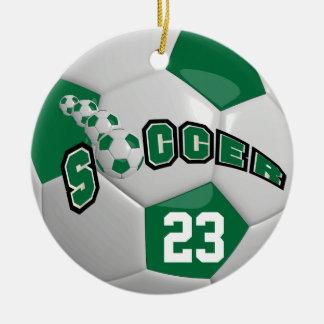 Personalize Soccer Ball | Dark Green Christmas Ornament