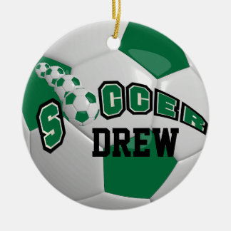 Personalize Soccer Ball | Dark Green Christmas Ornament