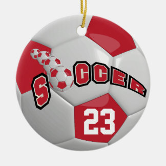Personalize Soccer Ball | Dark Red Christmas Ornament