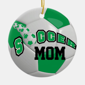 Personalize Soccer Ball | Green Christmas Ornament