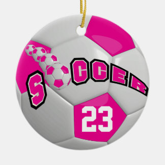 Personalize Soccer Ball | Hot Pink Christmas Ornament