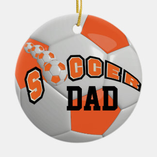 Personalize Soccer Ball | Orange Christmas Ornament