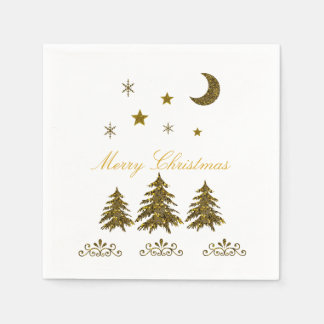 Personalize, Sparkly Christmas tree, moon, stars Disposable Serviettes