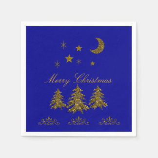 Personalize, Sparkly Christmas tree, moon, stars Paper Napkin