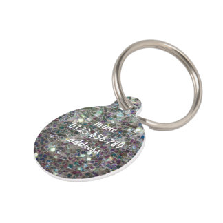 Personalize Sparkly colourful silver mosaic Pet Tag
