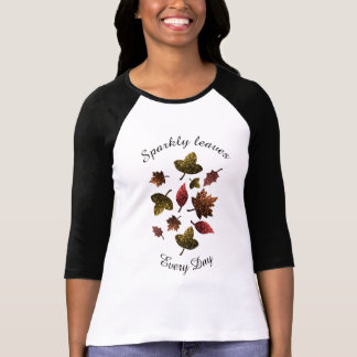 Personalize Sparkly leaves fall autumn sparkles T-Shirt