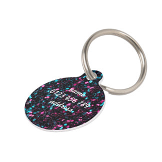 Personalize Sparkly pink blue mosaic glitter Pet Name Tag