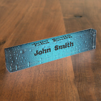 Personalize Stylish Cool Blue water drops Name Plate