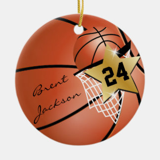 Personalize Super Star Player Basketball Christmas Ornament