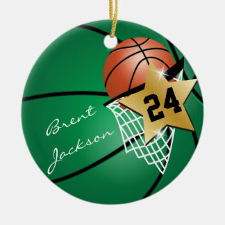 Personalize SuperStar Player Dark Green Basketball Christmas Ornament