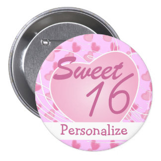 Personalize Sweet Sixteen Pink Hearts Birthday 7.5 Cm Round Badge