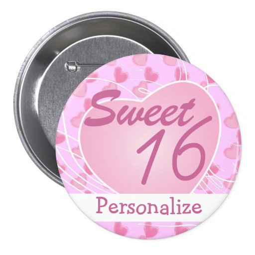 Personalize Sweet Sixteen Pink Hearts Birthday Pins