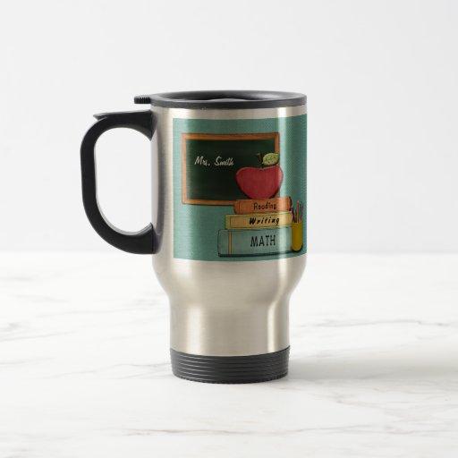Personalize Teachers', Apple, Books and Pencils Coffee Mugs
