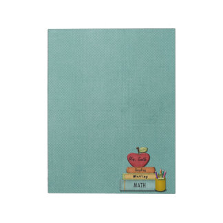 Personalize Teachers', Apple, Books and Pencils Notepads