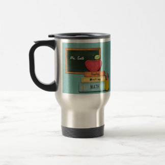 Personalize Teachers', Apple, Books and Pencils Stainless Steel Travel Mug
