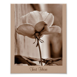 Personalize Template Sepia Rose Flower Poster