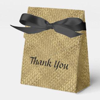 "Personalize: ""Thank You"" Golden Faux Basket Weave Favour Boxes"