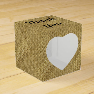 "Personalize: ""Thank You"" Golden Faux Basket Weave Wedding Favour Box"