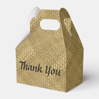 "Personalize: ""Thank You"" Golden Faux Basket Weave Wedding Favour Boxes"