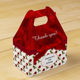 Personalize: Thank You -  Red Roses Pattern Party Favour Box