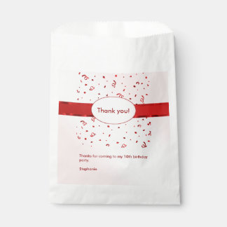 """Personalize: """"Thank You"""" Red Textured Favour Bags"""