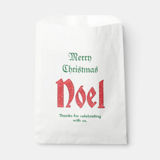 Personalize Thank You, Typography Red Noel Favour Bags