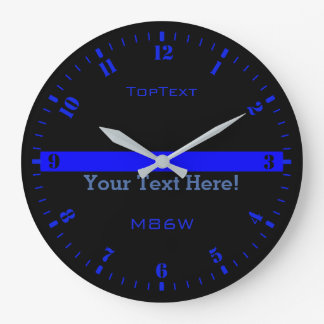 Personalize The Thin Blue Line with 3 Text Lines Wallclocks