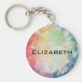 Personalize Thick Textured Abstract Paint Basic Round Button Keychain