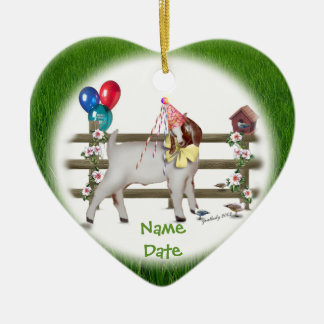 Personalize this Birthday Goat (Boer) Ornament
