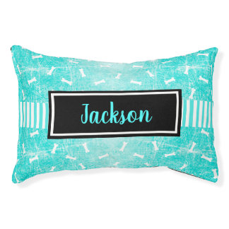 Personalize this Black and Teal Dog Bone Dog Bed