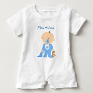 Personalize this Blue  Baby Boy Romper Baby Bodysuit