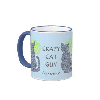 Personalize This Fun Crazy Cat Guy Coffee Cup Coffee Mug