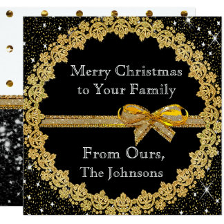 Personalize this Gold and Black Christmas Card