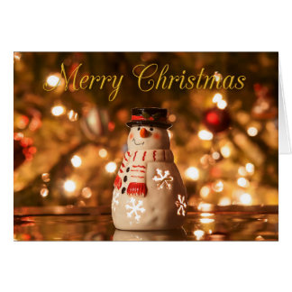 Personalize this Gold & Red Snowman Christmas Card