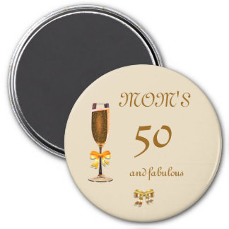 Personalize this Happy 50th Birthday Mom 7.5 Cm Round Magnet