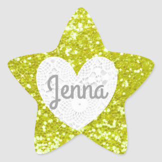 Personalize this Yellow Glitter Star Sticker