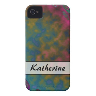 Personalize Turquoise Pink Yellow Abstract iPhone 4 Case