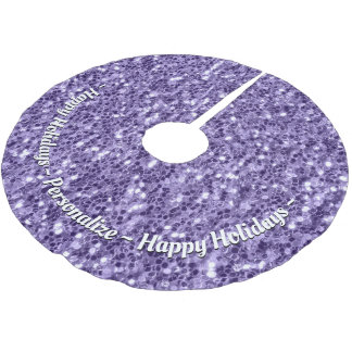 Personalize Ultra violet purple glitter sparkles Brushed Polyester Tree Skirt