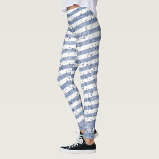 Personalize:  USA Blue and White Patriotic Stripes Leggings
